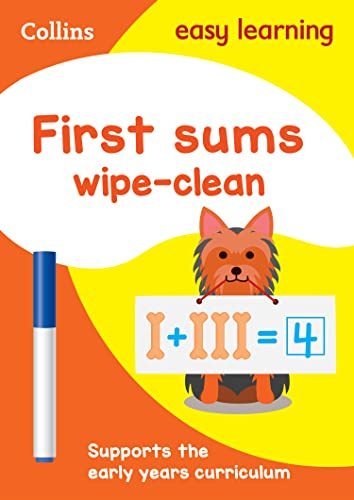 First Sums Age 3-5 Wipe Clean Activity Book By Collins Easy Learning