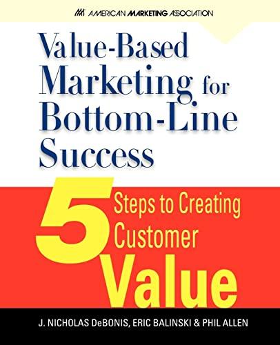 Value-Based Marketing for Bottom-Line Success By J Nicholas Debonis, Ph.D.