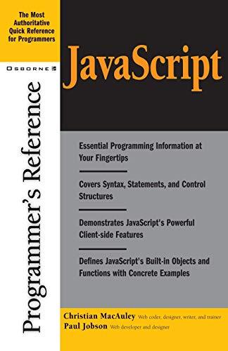 JavaScript Programmer's Reference By Christian MacAuley