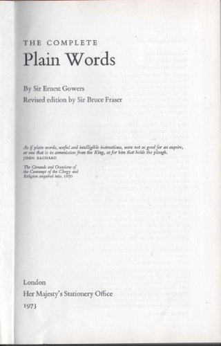 Complete Plain Words By Ernest Gowers