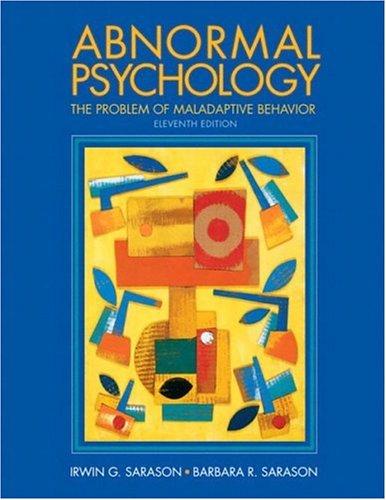 Abnormal Psychology By Barbara R. Sarason