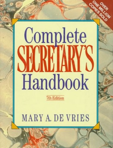 Complete Secretary's Handbook By Mary A.De Vries