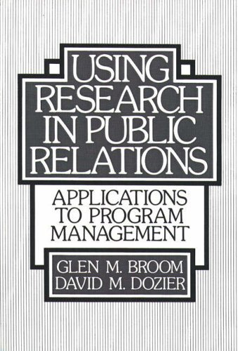 Using Research in Public Relations By Glen M. Broom