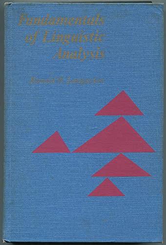 Fundamentals of Linguistic Analysis By Ronald W. Langacker