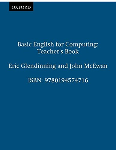 Basic English for Computing: Teacher's Book By Eric Glendinning