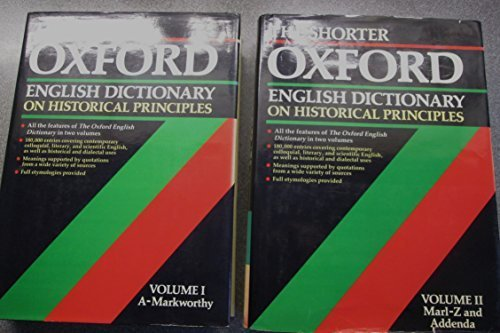 The Shorter Oxford English Dictionary By Edited by William Little