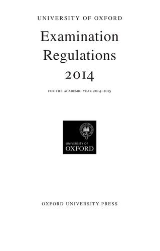 University of Oxford Examination Regulations 2014-2015 By Oxford University Press