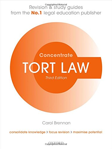 Tort Law Concentrate Law Revision and Study Guide 3/e By Carol Brennan (Senior Lecturer in Law, University of Buckingham)