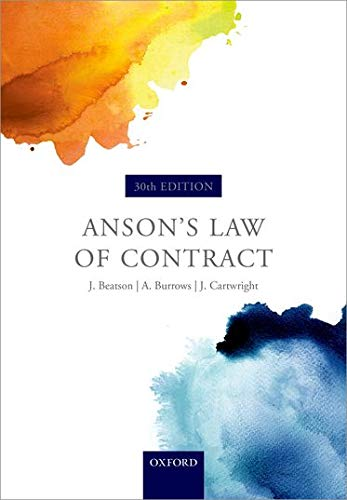 Anson's Law of Contract By Sir Jack Beatson, FBA, QC