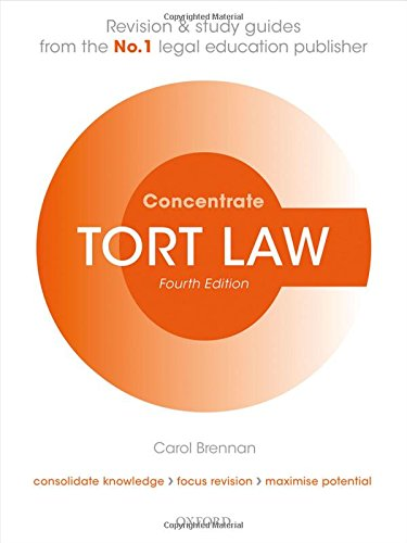 Tort Law Concentrate: Law Revision and Study Guide By Carol Brennan (Senior Lecturer in Law, University of Buckingham)
