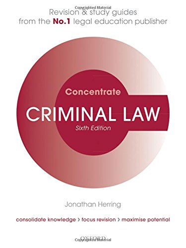 Criminal Law Concentrate By Jonathan Herring (Professor of Law, Exeter College, University of Oxford)