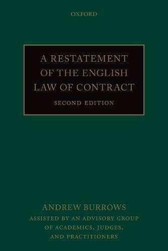 A Restatement of the English Law of Contract By Andrew Burrows (Justice of the Supreme Court)