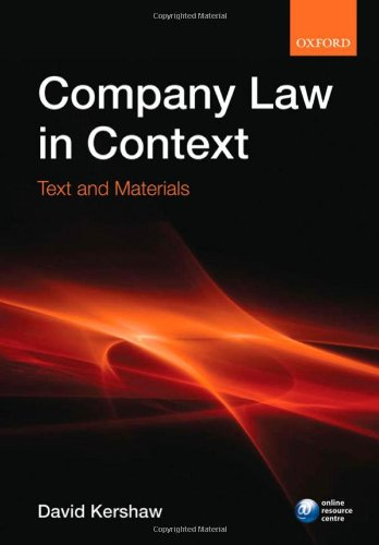 Company Law in Context By David Kershaw