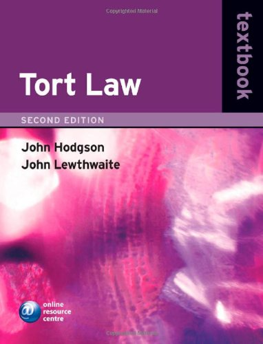 Tort Law Textbook By John Hodgson