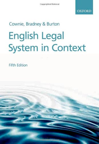 English Legal System in Context by Fiona Cownie