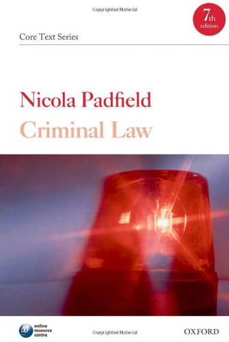 Criminal Law: Core Text (Core Texts Series) By Nicola Padfield