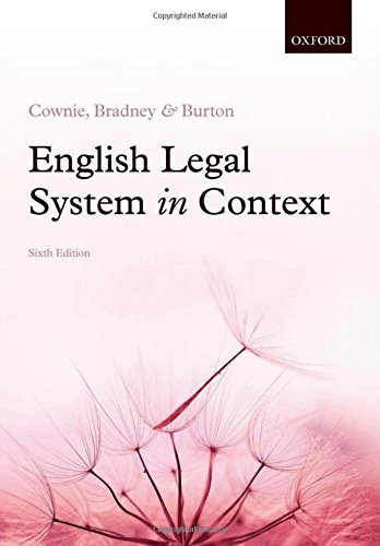 English Legal System in Context 6e By Fiona Cownie (Professor of Law, University of Keele)