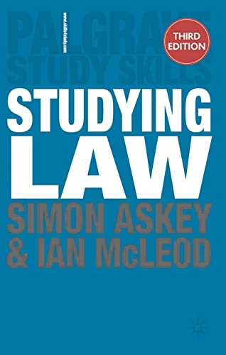 Studying Law (Palgrave Study Skills) By Simon Askey