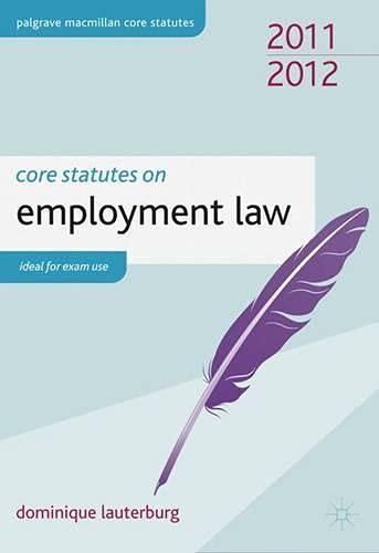 Core Statutes on Employment Law By Dominique Lauterburg