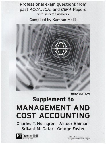 Management and Cost Accounting Professional Question Supplement By Alnoor Bhimani