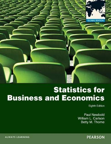 Statistics for Business and Economics: Global Edition By Paul Newbold