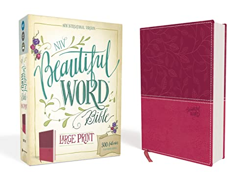 NIV, Beautiful Word Bible, Large Print, Leathersoft, Pink By Zondervan
