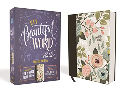 NIV, Beautiful Word Bible, Updated Edition, Peel/Stick Bible Tabs, Cloth over Board, Floral, Red Letter, Comfort Print By Zondervan