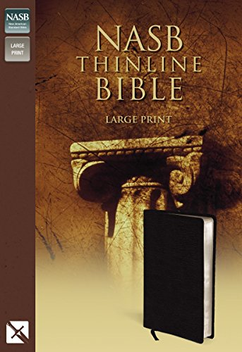 NASB, Thinline Bible, Large Print, Bonded Leather, Black, Red Letter Edition By Zondervan