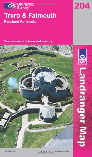 Landranger Map 204 Truro and Falmouth, Roseland Peninsula By Ordnance Survey