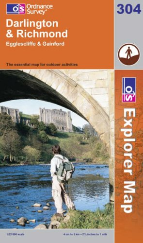 Darlington and Richmond: Egglescliffe and Gainford (Explorer Maps) (OS Explorer Map) By Ordnance Survey