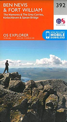 OS Explorer Map 392 Ben Nevis and Fort William, The Mamores and The Grey Corries, Kinlochleven and Spean Bridge OS Explorer Paper Map (OS Explorer Active Map) By Ordnance Survey