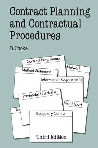 Contract Planning and Contractual Procedures (Building & Surveying Series) By B. Cooke