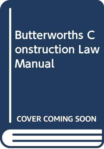 Butterworths Construction Law Manual By R.Redmond Cooper