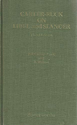 On Libel and Slander By Peter F.Carter- Ruck