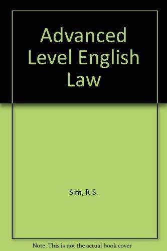 Advanced Level English Law By R.S. Sim