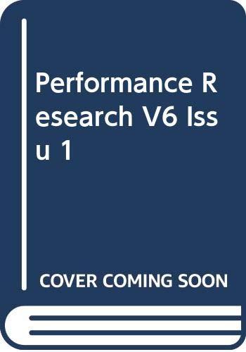Performance Research V6 Issu 1 By GOUGH R