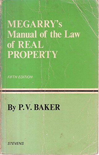 Manual of the Law of Real Property By Robert Megarry