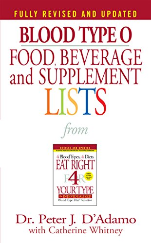 Blood Type O: Food, Beverage & Supplement List By Peter J. D'adamo