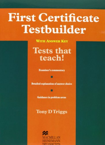 First Cert Testbuilder With Key By Tony D. Triggs