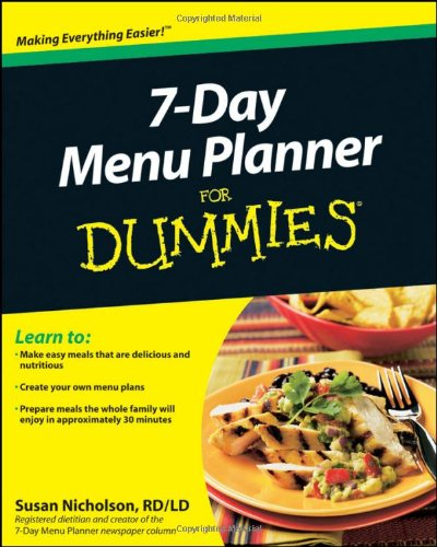 7-Day Menu Planner For Dummies By Consumer Dummies