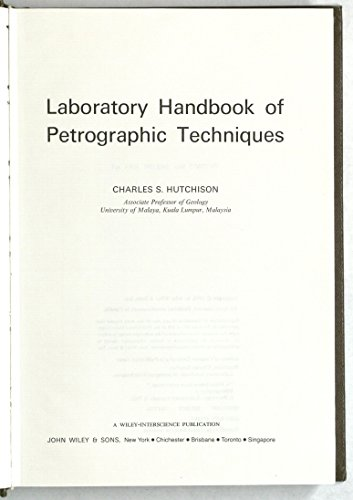 Laboratory Handbook of Petrographic Techniques By Charles S. Hutchison
