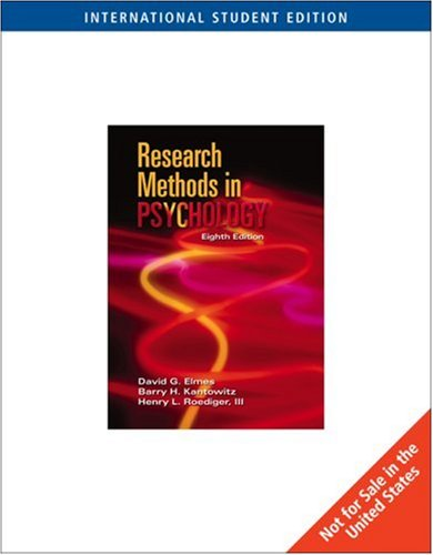 Research Methods in Psychology By Barry H. Kantowitz