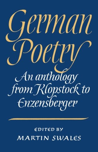 German Poetry By Martin Swales