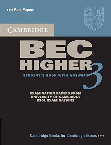 Cambridge Bec Higher 3: Level 3 (BEC Practice Tests) By Cambridge ESOL