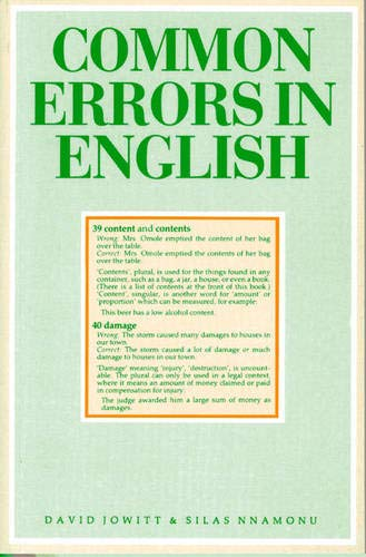 Common Errors in English By David M Jowitt