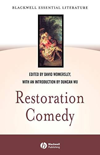 Restoration Comedy By Edited by David Womersley