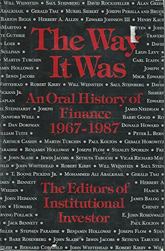 The Way It Was By William Morrow