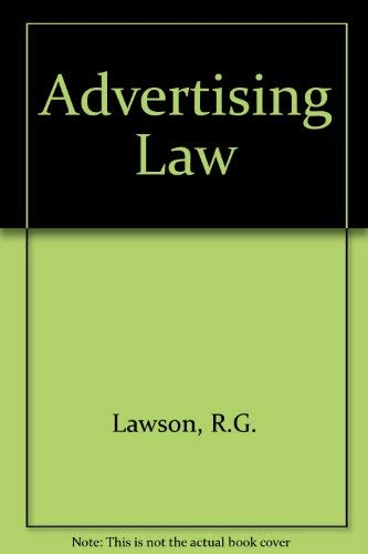 Advertising Law By R.G. Lawson