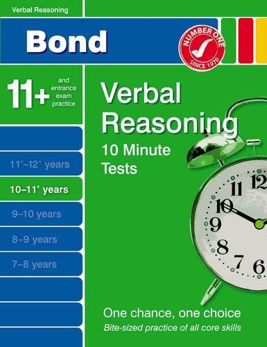 Bond 10 Minute Tests 10-11 Years: Verbal Reasoning by Frances Down