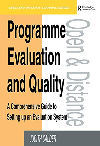 Programme Evaluation and Quality By Calder, Judith
